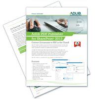 Datasheet: Adlib PDF Publisher For SharePoint 13