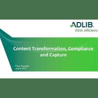 Webinar Presentation: Compliance and Capture (Adlib-K2 London-Brussels 2013)