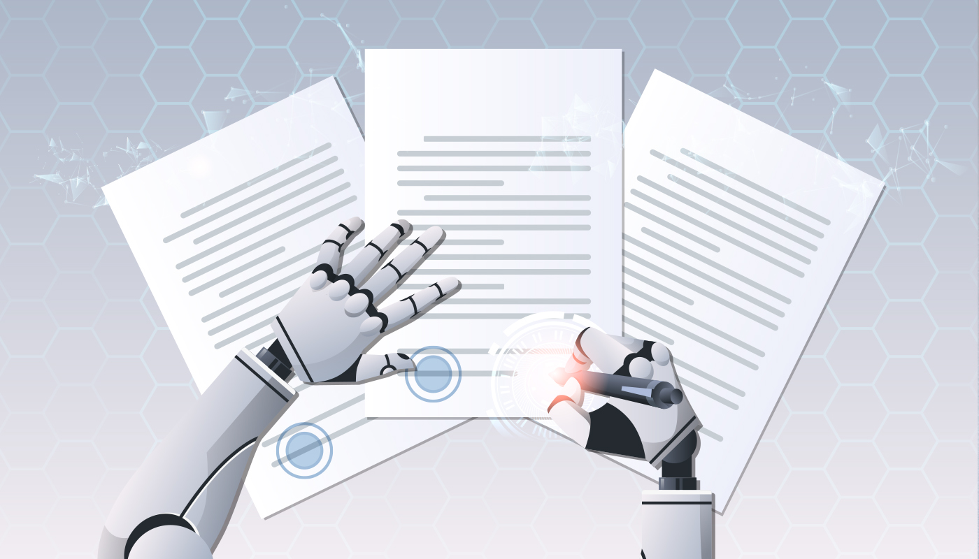 Robotic arms signing paperwork