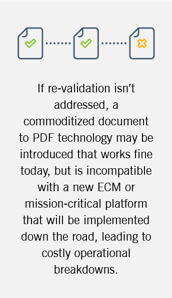 The image explains the importance of re-validation when implementing new software.