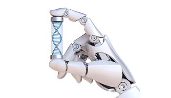 Robotic hand holding a test tube