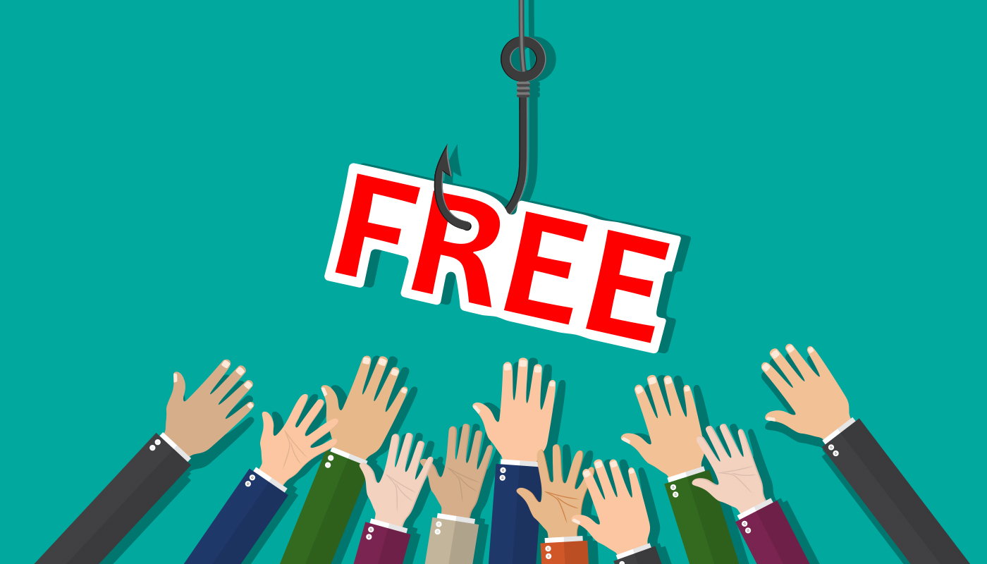 The image shows many hands reaching towards a sign that says free.