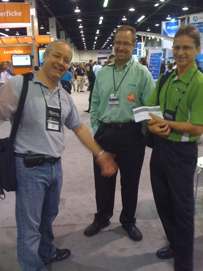 MS Life Sciences Gabor Fari with Adlib's Peter Duff and Jean Ouellette