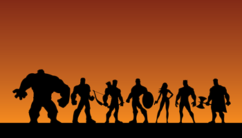 Seven superheroes are shown, ready for battle.