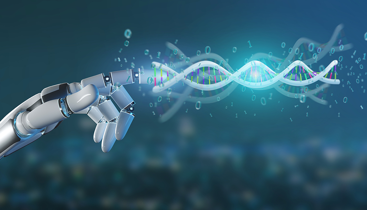A robotic hand connects with a DNA strand.