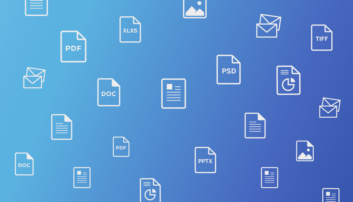 The graphic shows icons depicting various types of unstructured documents.